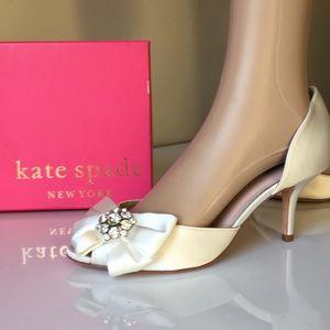 Kate Spade Ivory satin bridal Heels sandals 8.5 M